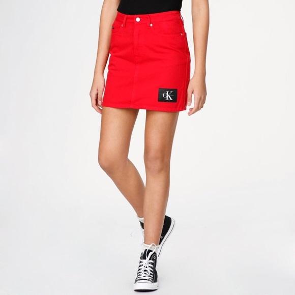 f96d46da88 Calvin Klein Jeans Skirts   Red Mini Skirt   Poshmark